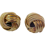 LOVE KNOTS~Textured & Polished Gold Plate Post Earrings