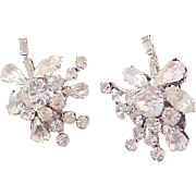 Delizza & Elster JULIANA Diamante Silver Plate Ear Climber Clip Earrings
