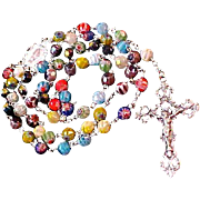 Amazing Vintage Milifiore Art Glass~ Trademarked  ITALY  9  mm ROSARY