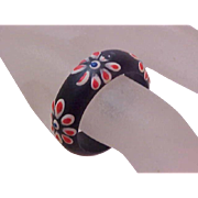 Mid-Century Polished Black Wooden Ring~Hand Painted Flowers~Sz 7 1/2