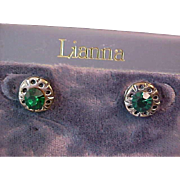 Emerald Green Rhinestone Post Earrings~New~Old Stock