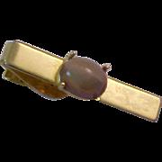 1950s  Estate Tiger's Eye Prong Set Tie Clasp /Tie Bar