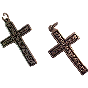 Antiqued Silver Plate~ Two Crosses ~For Him & Her or Best Friends