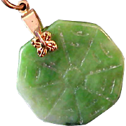 Sophisticated Genuine Hand Carved  JADITE Pendant &  14K Gold Plate Torsade Chain.