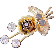 ROSEBUD~ Diamante and Blue Topaz 1940's Brooch~Textured Gold Plate