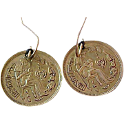 EGYPTIAN Inspired COIN  Dangle Dark Gold Tone Kidney Wire Earrings