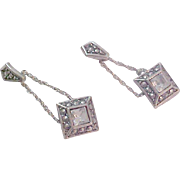 AVON~Charming VICTORIAN Inspired Square Cut C.Z.~Simulated Marcasite~Antiqued Silver Plate Setting Dangle Earrings
