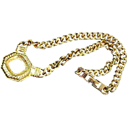 Gold Plate Chain Link & Medallion signed CRAFT Necklace