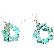Genuine  Turquoise Nuggets ~ Shepards Wire Earrings