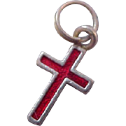 Charming Red Enamel over Silver Plate Charm