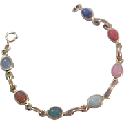 Gold Fill Charming 7 scarabs~ Bezel Set Bracelet