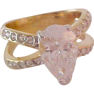 BLING ~ 18K Gold Fill Magnificent 8 Carat CUBIC ZIRCONIA~Pear Cut Split Band CZ's RING ~ Size 8