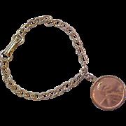 1972 Copper One Cent Gold Plate Charm Bracelet