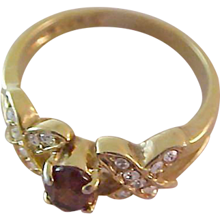 14 K Gold Fill TOPAZ  ~ C.Z. ~ Birthstone RING ~  Size 7 1/4