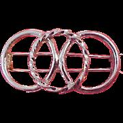 Trio of Circles 1950's Barrette ~ Silver Plate
