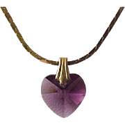 VALENTINE~ Sworovski Crystal faceted AMETHYST HEART~ Pendant & Gold Plate Chain