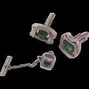 EMERALD Green~EMERALD Cut open Rhinestone Silver Plate Cuff Links & Tie Tac