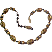 Gold & Black Oblong Beads~Black Crystal & Rhinestone Rondells Necklace