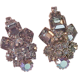 Vintage Luxurious Black Diamond & Aurora Borealis Silver Plated Clip Earrings