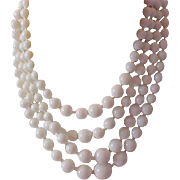 Captivating 4 Strand Graduated White Beads Necklace~Germany