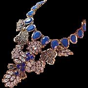 Elegant FESTOON~Blue Sapphire Rhinestones!Pear Cut Stones~Diamante Necklace