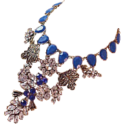 Elegant FESTOON~Blue Sapphire Rhinestones!Pear Cut Stones~Diamante Necklace