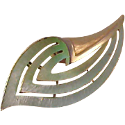 Mid Century~Designer J.J.~Mint Green Textured Dimensional Gold Plate Brooch