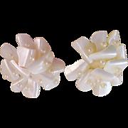 World War II ~ Mother-of-Pearl & Seed Pearl JAPAN Clip Earrings
