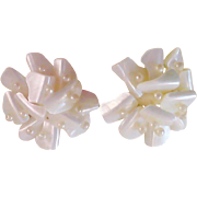 World War II ~ Mother-of-Pearl & Seed Pearl JAPAN Clip Earrings