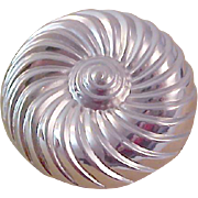 Mid Century ~ PINWHEEL ~ Heavy RHODIUM  Silver Plate Brooch~Signed MARINO