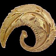 Dimensional Designer B.S.K. Curved-Cut Work Textured Gold Plate Brooch