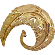 Dimensional Designer B.S.K. Curved-Cut Work Textured Gold Plate Brooch