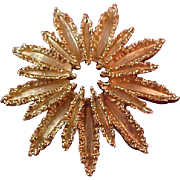 Enchanting Luxurious AVON Starburst Gold Plate Brooch