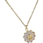 Lovely MERMAID Flanked by diamante Gold Plate Pendant & Chain