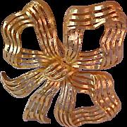 Dimensional MONET Ribbon Filigree BOW~Ornate Design Brooch