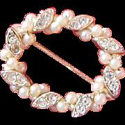 Lavish Seed Pearls & Diamante Oval Gold Plate Brooch