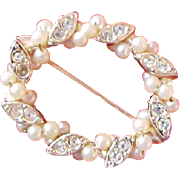Lavish Seed Pearls & Diamante Oval Gold Plate Brooch