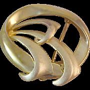 Geometrical Textured & Polished Gold Plate Brooch~ Designer Signed