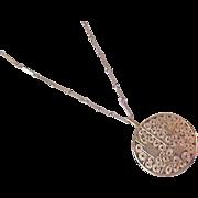 Unique SARAH Trademark ~ Lavish Workmanship (Filigree) Gold Plate Polished Pendant & Chain Necklace