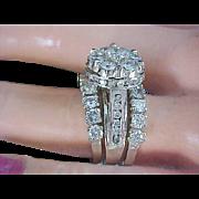 BRIDAL~ 4.20 CARAT ~ Plethora of Diamonds ~ 14K White Gold ~ Three Stackable RINGS Ladies WEDDING Set - Custom Made~Size 7