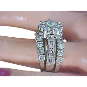 BRIDAL~ 4.20 CARAT ~ Plethora of Diamonds ~ 14K White Gold ~ Three Stackable RINGS Ladies WEDDING Set - Custom Made~Size 7