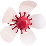 Summer Daisy!All Metal ~ Red & White ~ 1952 ~ Pin/Brooch