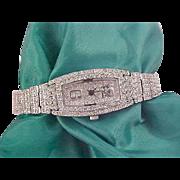 BLING~ Paste Rhinestones (DIAMANTE) Silver Plate BRACELET Watch
