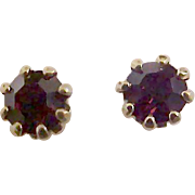 Vintage  GARNET SWAROVSKI  CRYSTAL Stud Post Earrings Jewelry Store Close-out ` 1960's