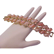Thermoset ROSE~ PINK &  Contrasting  A. Borealis Gold Plate LINK Bracelet.
