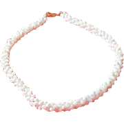 Torsade Mother-of-Pearl Tiny Seed Beads Choker Necklace