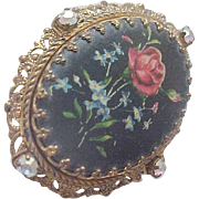 Western Germany Hand Painted Bisque & AB Brooch