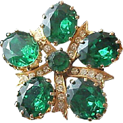 Mid Century Emerald Green Oval faceted Rhinestones in Gold Plate