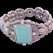 Turquoise & Diamante Antiqued  Silver Plate Expandable Bracelet