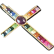 Square Cut Swarovski Varied Colors Gold Plate Cross Pendant swarovski